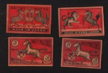 Collectible match box labels CHINA or JAPAN patriotic Horses  #817